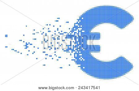 Dissolved Euro Dot Vector Icon With Disintegration Effect. Rectangle Pixels Are Arranged Into Dissol