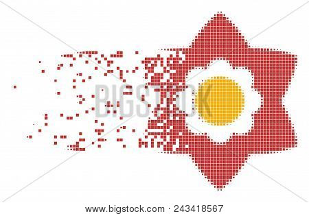 Dispersed flower dot vector icon with disintegration effect. Rectangle dots are grouped into dispersed flower shape. Pixel dissolution effect demonstrates speed and movement of cyberspace concepts. poster