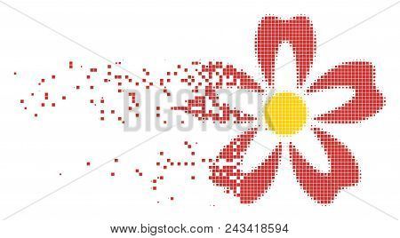 Fractured Flower Dot Vector Icon With Disintegration Effect. Rectangle Pixels Are Composed Into Disp