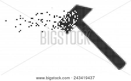 Dispersed hammer dot vector icon with disintegration effect. Rectangular points are organized into dispersed hammer figure. Pixel transformation effect shows speed and motion of cyberspace objects. poster