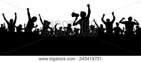 Crowd Of People Silhouette Vector. Speaker, Loudspeaker, Orator, Spokesman. Applause Of A Cheerful P