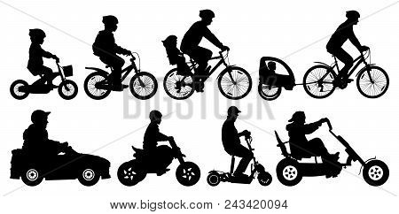 Family With Children Traveling On Bikes. Mountain Bike. Cyclist With A Child Stroller. City Cycling
