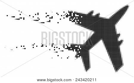 Fractured jet plane dot vector icon with disintegration effect. Square elements are organized into dispersed jet plane form. Pixel dissolving effect shows speed and motion of cyberspace abstractions. poster