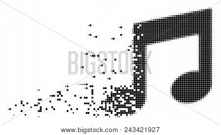 Dispersed music notes dot vector icon with disintegration effect. Square elements are combined into dissolving music notes form. Pixel disappearing effect shows speed and motion of cyberspace items. poster