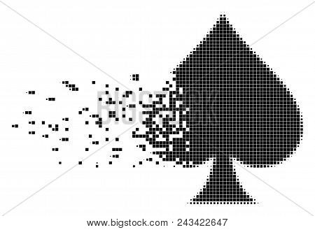 Dispersed Peaks Suit Dot Vector Icon With Disintegration Effect. Square Fragments Are Organized Into