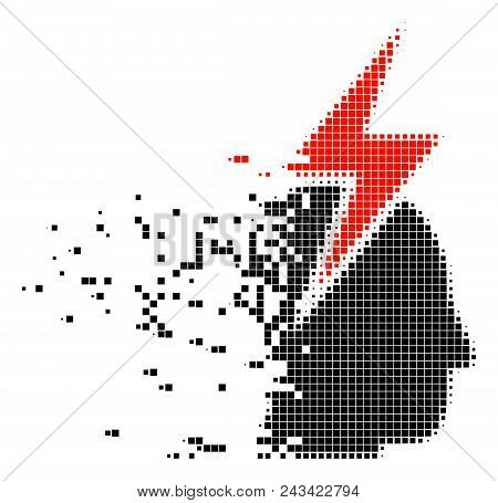 Fractured Person Stress Strike Dot Vector Icon With Disintegration Effect. Rectangular Items Are Arr