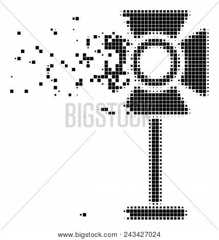 Fractured Spotlight Rack Dot Vector Icon With Disintegration Effect. Square Cells Are Organized Into