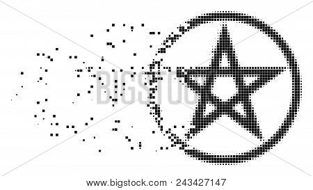 Fractured Star Pentacle Dot Vector Icon With Disintegration Effect. Rectangular Pieces Are Composed