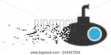 Dissolved Submarine Tour Dot Vector Icon With Disintegration Effect. Rectangular Particles Are Combi