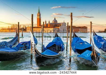 Venice Sunrise. Venice Gondolas On San Marco Square At Sunrise, Grand Canal, Venice, Italy,