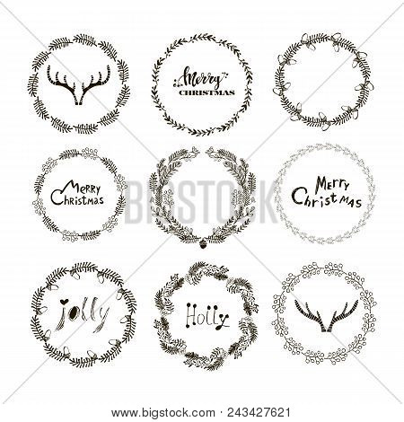 Set Of Handdrawn Christmas Wreaths.fir, Blue Spruce, Juniper, Pine Cones. Holiday Background.unique
