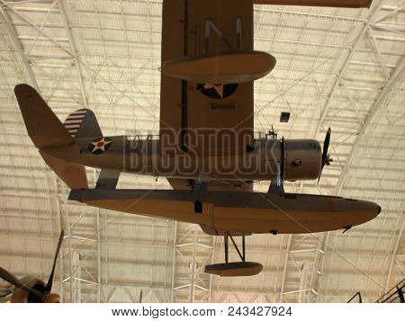 Vought Os2u Kingfisher At The Smithsonian National Air And Space Museum Steven F. Udvar-hazy Center,
