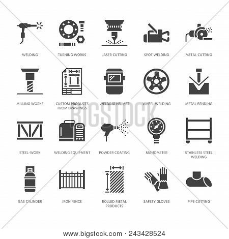 Welding Services Flat Glyph Icons. Rolled Metal Products, Steelwork, Stainless Steel Laser Cutting,