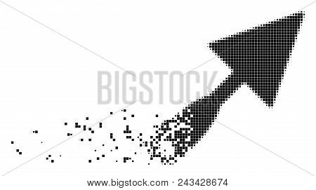 Dispersed Trowel Dot Vector Icon With Disintegration Effect. Rectangle Fragments Are Organized Into