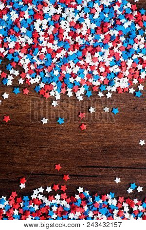 American Independence Day Background With Blue, White And Red Mixed Stars. Celebration Of American I