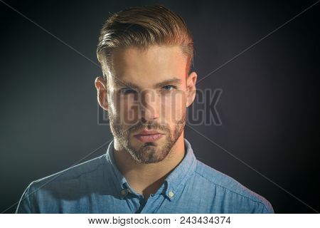 Attractive Cool Man With Stylish Hairstyle. Serious Handsome Businessman, Portrait. Smart Pensive Gu