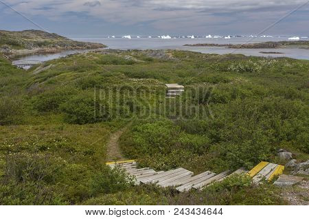 Hiking Trail With Steps On Fogo Island, Newfoundland; Icebergs