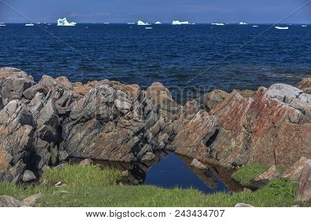 Rocky Coastline Of Fogo Island, Newfoundland, With Icebergs