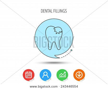 Dental Fillings Icon. Tooth Restoration Sign. Calendar, User And Business Chart, Download Arrow Icon