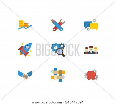 Partnership Icons Set. Teamwork And Partnership Icons With Startup, Technical Development And Resear