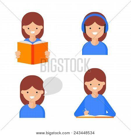 Reading, Writing, Speaking, Listening. Language Learning Icons, Flat Style