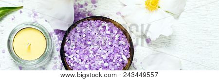 Top View Of Spa Theme Objects With Purple Peony Rose Bath Salt Panoramic Image. Selective Focus.