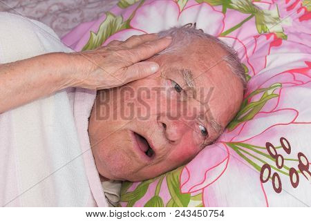 Elderly 80 Plus Year Old Man In A Home Bed. Illness, Aging, Unhealthy Concepts