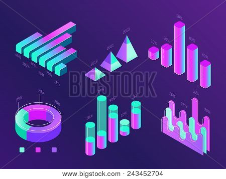 Modern Isometric Business Infographic. Colorful Purple And Cyan Percentage Info Charts, Statistics C