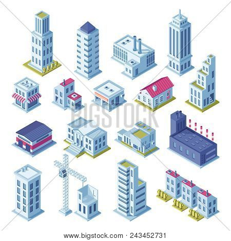 City Buildings 3d Isometric Projection For Map. Gray Houses, Manufactured Area, Storage, Garage, Sho