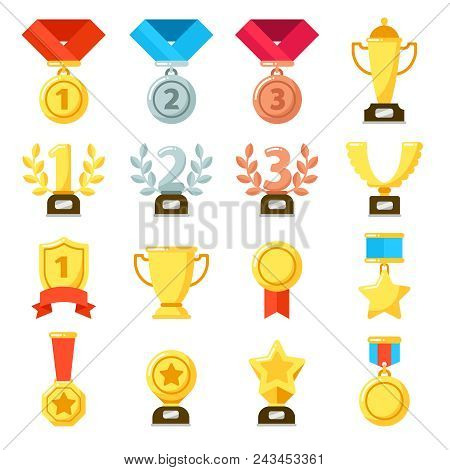 Achievement Award, Achiever Trophy, Achievements Ribbon Medal Star Icon. Gold, Silver, Bronze Medals