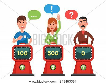 Characters Answer Test Question On Intellect Show. Gaming Cartoon Man And Woman Pressing Button And