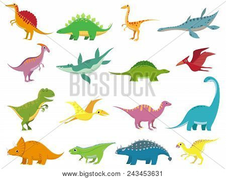 Adorable Comic Dinosaurs Character. Cute Baby Stegosaurus Dinosaur. Prehistoric Cartoon Animals Of J
