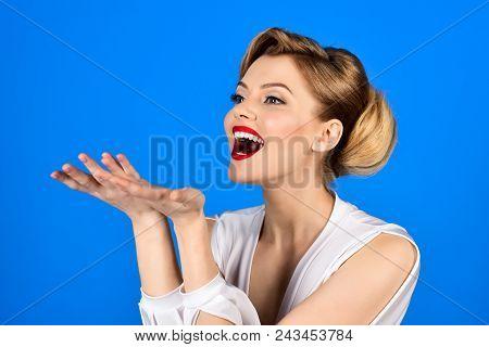 Happy Blonde Girl In Elegant White Dress. Smiling Woman In White Dress. Woman In Retro Dress. Girl W