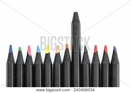 Colored Pencils On White Background, Isolated. Pencils Lie In A Row. One Of Pencils With A Broken Le