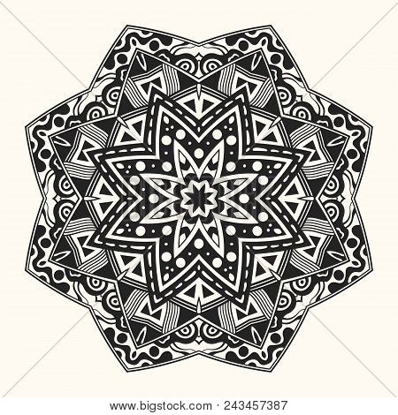 Vector Zentangle Template. Round Ornament.