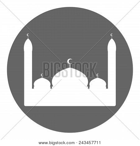 Islamic mosque silhouette icon. Round button. Vector illustration. poster