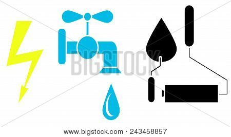 Icons Sign Electricity, Water Tap, Roller And Trowel. Vector Image. Design Element, Interface. Flat