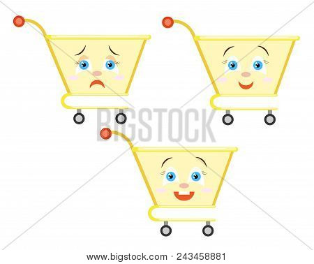 Cons Sign, Supermarket Basket Shop With Different Emotions. Flat Style. Vector Image. Design Element