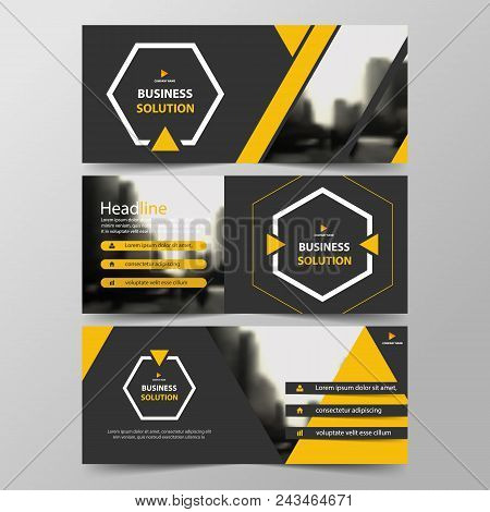 Yellow Hexagon Abstract Corporate Business Banner Template, Horizontal Advertising Business Banner L