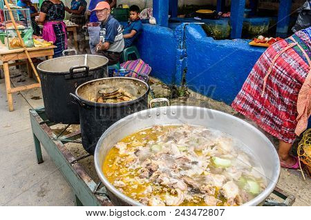 Santiago Sacatepequez, Guatemala - November 1, 2017: Streetside Food Stall With Big Pots Of Tamales