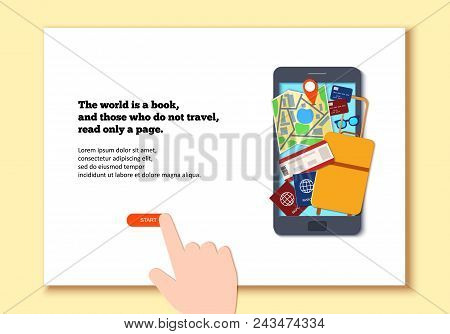 Mobile Phone Template In Paper Cut Style. Smartphone With Things For Travel And Hand. Black Craft Fl