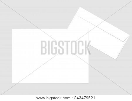 Blank Paper Envelope And A4 Sheet For Your Design. Vector Envelope And Sheet Template. Blank A4 Shee
