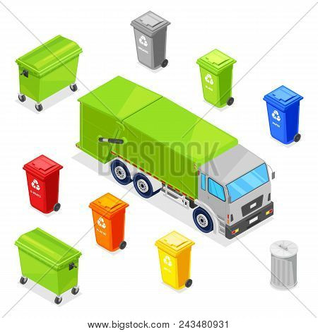 Sorting And Recycling Waste. Garbage Multicolor Baskets, Bin, Container And Garbage Truck, Vector 3d