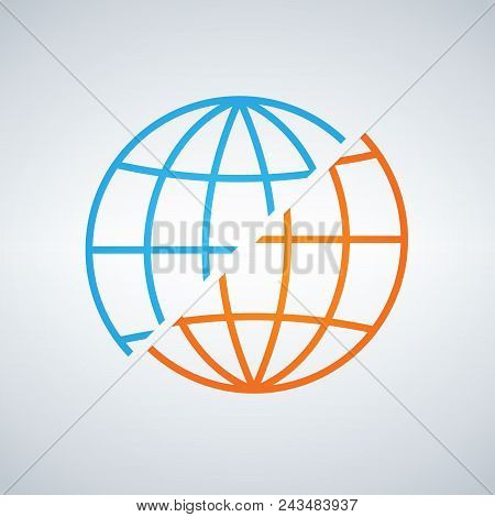 Blue And Orange Shifted Or Devided World Globe Icon. War Or Peace Concept. Separation. Vector Illust
