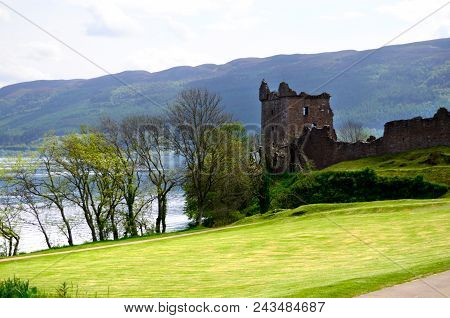Ancient Urquhart Castle, In Scotland, Next To Loch Ness.