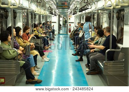 SEOUL, SOUTH KOREA-May 17, 2018:  The Seoul Metropolitan Subway is a metropolitan railway system consisting of 21 rapid transit, light metro, commuter rail and people mover lines located in northwest