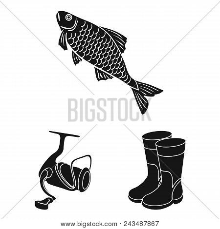 Fishing And Rest Black Icons In Set Collection For Design. Tackle For Fishing Vector Symbol Stock  I