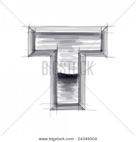 3d metal letters sketch - T. Bitmap copy my vector