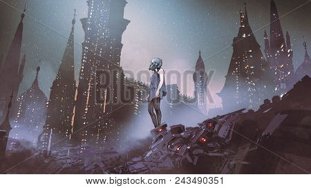 Cyborg Woman Standing On Piles Of Electronic Waste Against Futuristic City, Digital Art Style, Digit