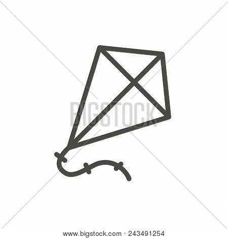Kite Icon Vector. Line Symbol Isolated. Trendy Flat Outline Ui Sign Design. Thin Linear Fly Paper Ki